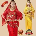 Belly Dance Costume Set 4 Pics Long-sleeved Top Pants Belt Veil Carnival Outfit
