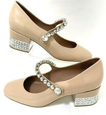 Jeffrey Campbell Delyth Sz 10 Beige Patent Leather Crystal Mary Jane Pumps NWOB