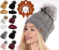 Bufanda para mujer Beanie & Imitación Pom Pom Invierno Forro Polar Mohair Lana Natural