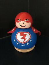 B28) RARE Vilac Wooden Children's Toy SUPERHERO Rotating Music Box
