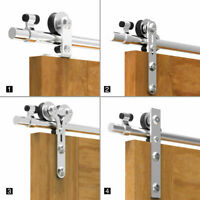 5-12FT Stainless Steel Sliding Barn Door Hardware Kit for Single Wood/Glass Door