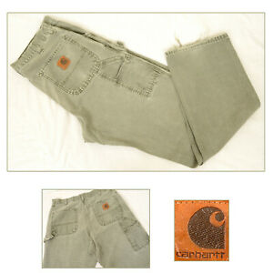 CARHARTT Carpenter Duck Trousers Pants Jeans Work Wear Green Canvas W36 L34 B11