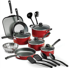 Cookware Set Pots And Pans Red 18-Piece Non Stick Large Cooking Professional