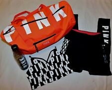 Lot 4 Victoria's Secret Pink Leggings, Bralette, Duffel & Water Bottle L