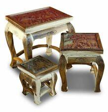 Side Table Wood Set 3er Opium Table Elephant Carved Solid Wood Tables Natural