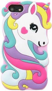 For iPhone 7 / 8 - SOFT SILICONE RUBBER SKIN CASE COVER CUTE RAINBOW UNICORN