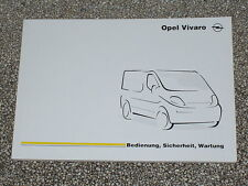 Manual de instrucciones Opel Vivaro, edición 07/2001 (nuevo) #bavi 0701