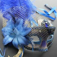 Royal Blue Venetian Masquerade Mask w/Ostrich Feathers Party Prom Halloween