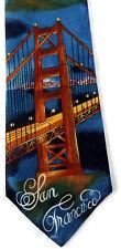 Golden Gate Bridge San Francisco Silk Neck Tie Night Lights