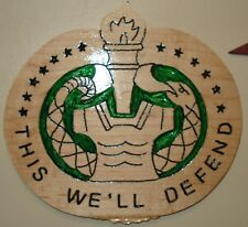 Drill Sergeant Badge Wood Carving, This We'll Defend