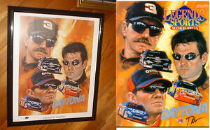 "Dale EARNHARDT SR Jeff Gordon Dale Jarrett Lithograph Signed by Artist 16"" x 20"""