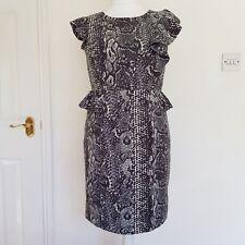 Womens Grey Snakeskin Animal Print Dress Wiggle Fitted Peplum Ruffle Size 12