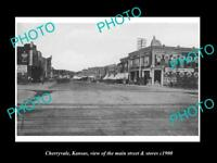 OLD LARGE HISTORIC PHOTO OF CHERRYVALE KANSAS, THE MAIN St & STORES c1900