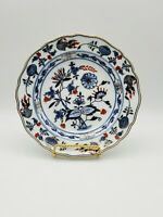 19TH CEN. VINTAGE GERMAN MEISSEN PORCELAIN COLORED BLUE ONION PATTERN PLATE 7.5""