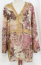 Lane Bryant Sheer Top Sz 18/20 Pink Gold Mauve Paisley Gold Beaded Empire Waist