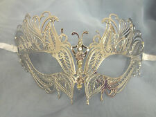 Silver Butterfly Eyes Laser Cut Venetian Mask Masquerade Metal Filigree Dance