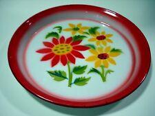 "Thai EnamelWare Tray Dish Pan Plates 10"" Pan Vintage Antique Floral Sun Flowers"