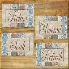 Blue and Brown Damask Bathroom Wall Art Prints Quotes Relax Refresh Soak Unwind