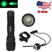 GREEN/RED/WHITE LED Light 5000Lm XML T6 Flashlight Picatinny Mount Rail Light