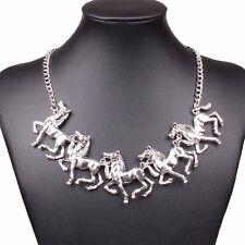 Women's Fashion 3D Antique Retro 2016 New Tibetan Silver Horse Pendant Necklace