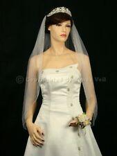 Handmade 1 Tier Bridal Wedding Veil White / Ivory Fingertip Length Beaded Edge