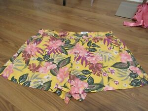 STYLE & CO, WOMEN'S NEW YELLOW/PINK VISCOSE ELASTIC FLORAL SHORTS, SIZE XXL