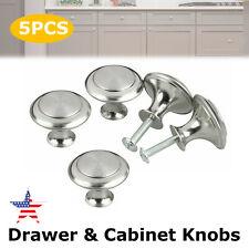 5Pack Stainless Steel Bathroom Kitchen Cabinet Door Handles Drawer Pulls Knobs