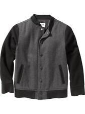 Old Navy Wool Blend Varsity Jacket Black Gray Boys XS 5 nwt