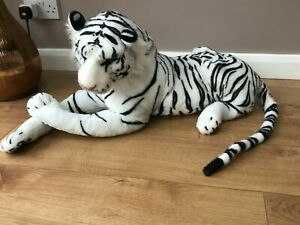 Large Tiger Giant Lying Soft Toy Plush 138cm Realistic Features White Ca