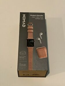 Nomad Modern Bundle Leather Strap for Apple Watch 40/38mm Airpods Case Lt Brown