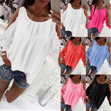 Womens Ladies Chiffon Cold Shoulder Tops Summer Beach Casual Loose T Shirt 6-18