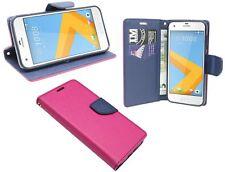Pink-Blaue Wallet PU-Leder Schutzschale Hülle Tasche Etui Book für HTC ONE A9S
