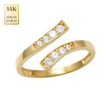 Toe Ring 14mm Inner Diameter 14K Real Solid Gold Cubic Zirconia