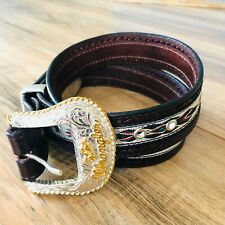 Wrangler Size 42 Western Brown Tooled Leather Embroidered Concho Belt