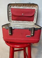 Vintage Red American Tourister Tiara Train Makeup Case With Mirror