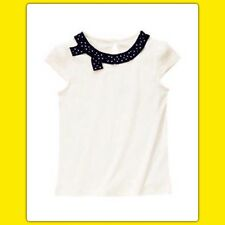 NWT Girls 7 gymboree BEE CHIC short sleeve SHIRT TOP black polka dot Ivory . . Q