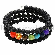 Multi-layer 7 Chakra Lava Stone Mala Meditation Beads Bracelet Healing Men Women