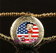Betty Boop Photo Cabochon Glass Gold Locket Pendant Necklace#A25