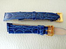 Homme  - montre - 1 bracelet en cuir véritable - bleu 18 mm - boucle dorée NEUF