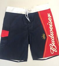 Budweiser Beer Mens Size 34 Swim Trunks Board Shorts Bathing Suit Red White Blue
