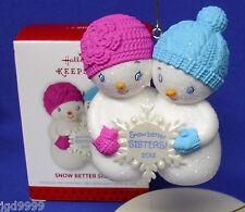 Hallmark Ornament Snow Better Sisters 2013 Glittery Snowmen with Snowflake NIB