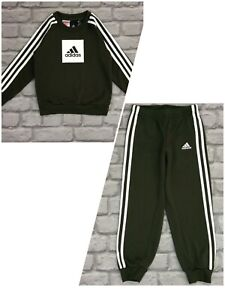 ADIDAS BOYS BOX LOGO GREEN FLEECE SWEATER/ JOGGERS *SOLD SEPARATELY* CHILDRENS A