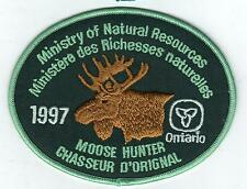 1997 ONTARIO MNR MOOSE HUNTER PATCH-MICHIGAN DNR DEER-BEAR-ELK-CREST-BADGE-FISH