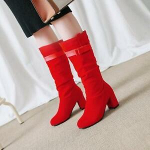 Womens Buckle Strap Block Heels Slouch Pull On Mid Calf Boots Suede Party Shoes