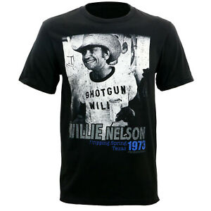 Authentic WILLIE NELSON Jim Marshall Photo Shotgun Beer Slim T-Shirt S-2XL NEW
