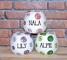 Small Personalised Hand Painted Ceramic buttons Dog Puppy Cat Treat jar canister