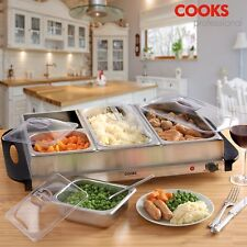Electric Hot Plate Buffet Warmer Food Server Tray 4 Sections Adjustable by COOKS