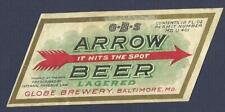 Arrow Beer Label, U-Permit, Irtp, Globe Brewery, Baltimore Md, no alc statement