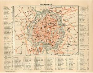 1885 GERMANY BRAUNSCHWEIG CITY PLAN Antique Map dated