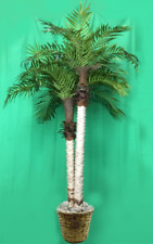 7' Artificial Phoenix x 2 Palm Tree in Basket Date Sago Areca Bamboo Pot Coconut